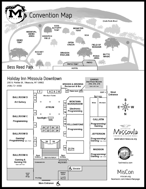 Holiday Inn Missoula Downtown Layout for MisCon 32